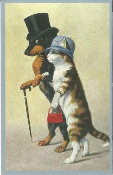 Ansichtkaart Teckel en kat aan de wandel