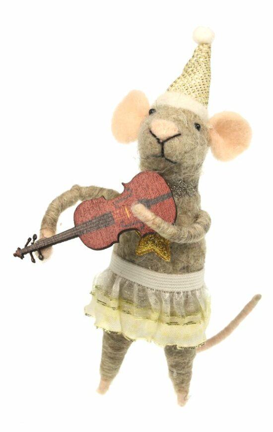 Muis met viool vilt