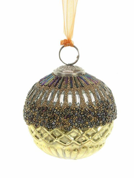 Kerstbal goudkleurig kralen 7,5cm