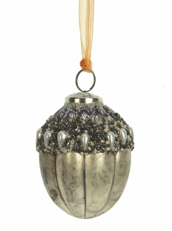 Kerstbal dennenappel glad antiek zilver