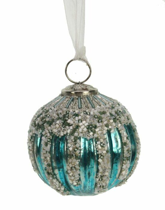 Kerstbal turquoise streep met kralen