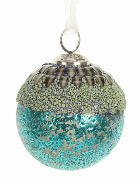 Kerstbal turquoise met kralen