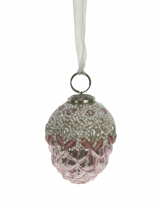 Kerstbal dennenappel roze met kralen klein