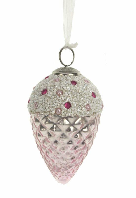 Kerstbal dennenappel roze met kralen