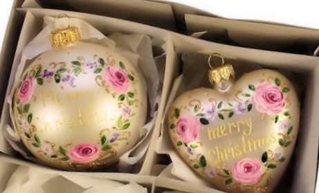 Kerstbal Merry Christmas rozen set van 2