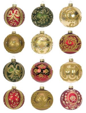 Kerstbal barok set van 12