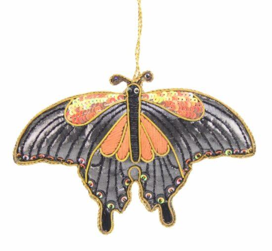 Vlinder zwart oranje ornament hangend