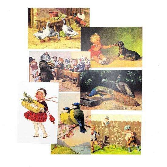 Ansichtkaarten nostalgisch set van 7 stuks