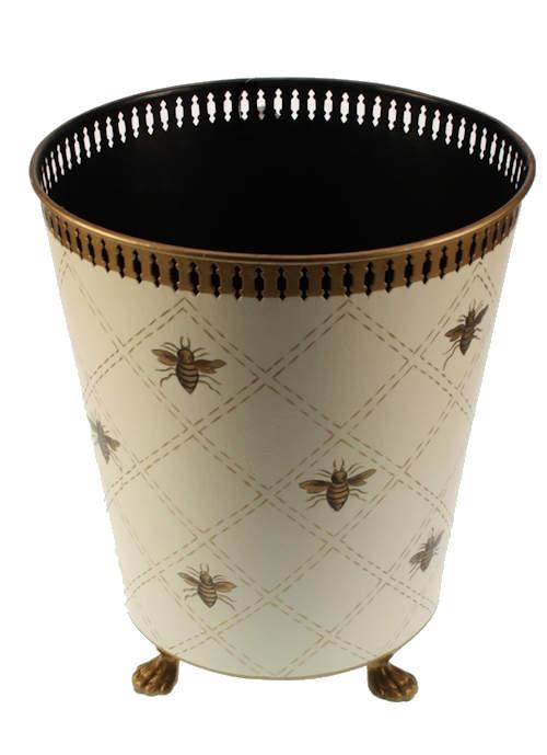 Prullenbak wit met bijen