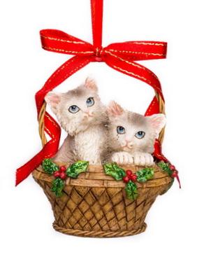 Katjes grijs in mand kerstornament