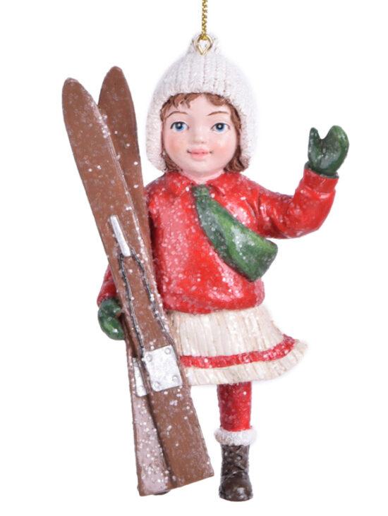 Winterkind meisje met ski's kerstornament