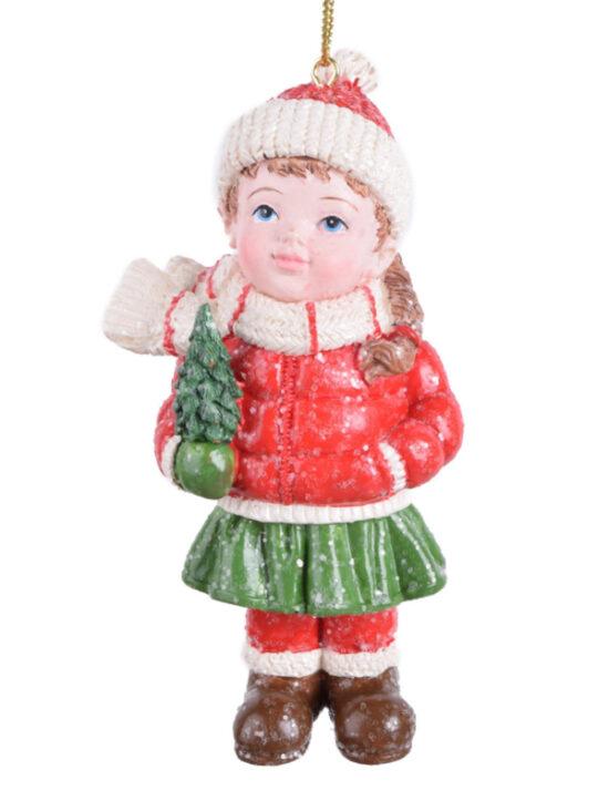 Winterkind meisje met kerstboom kerstornament