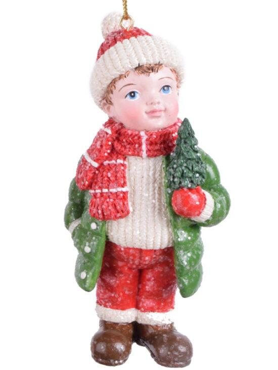 Winterkind jongen met kerstboom kerstornament