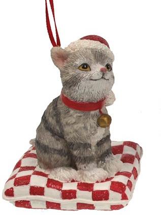 Kat grijs op kussen kerstornament