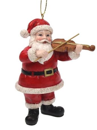 Kerstman met viool kerstornament