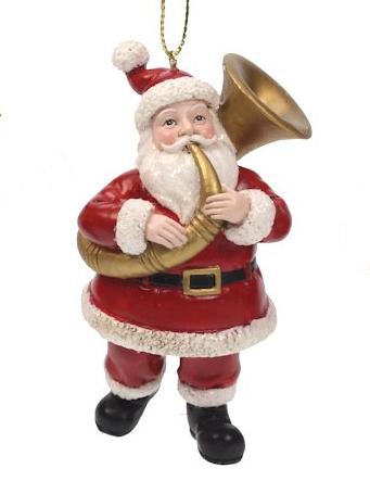 Kerstman met tuba kerstornament