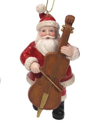Kerstman met contrabas kerstornament