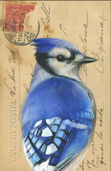Wenskaart  met envelop Blauwe Gaai