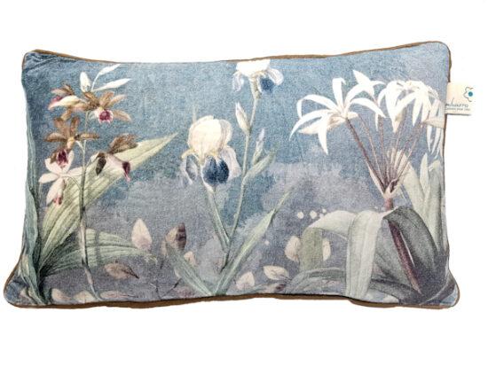 Kussen bloemen blauw wit