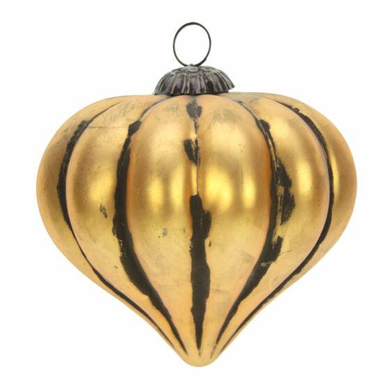 Kerstbal glas druppelvorm antiek goudkleur