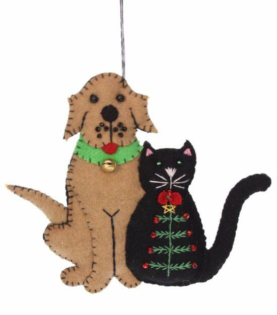 Kerstornament Hond en Kat met kerstboom vilt