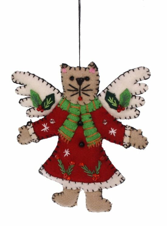 Kerstornament Kat met vleugels vilt