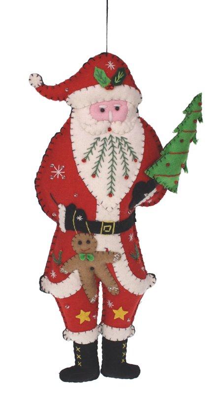 Kerstman met kerstboom vilt