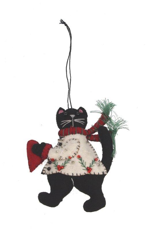 Kerstornament kat met hart vilt