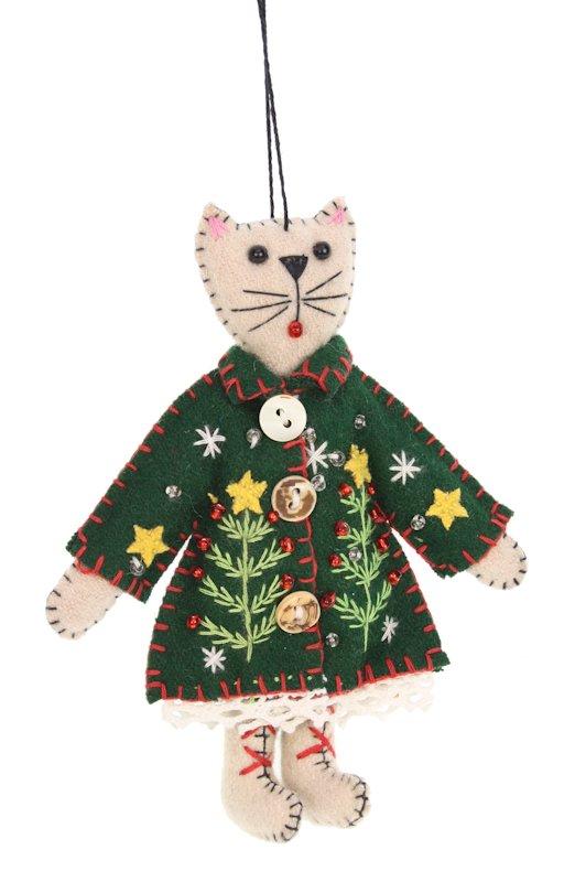 Kerstornament Kat met groene jas vilt