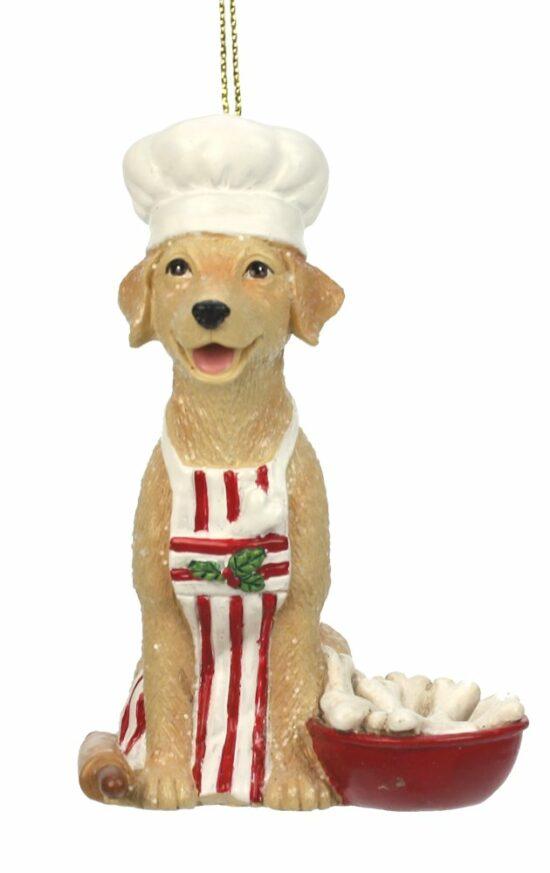 Hond chef kok kerstornament