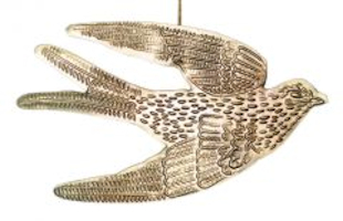Vogel ornament metaal goudkleurig