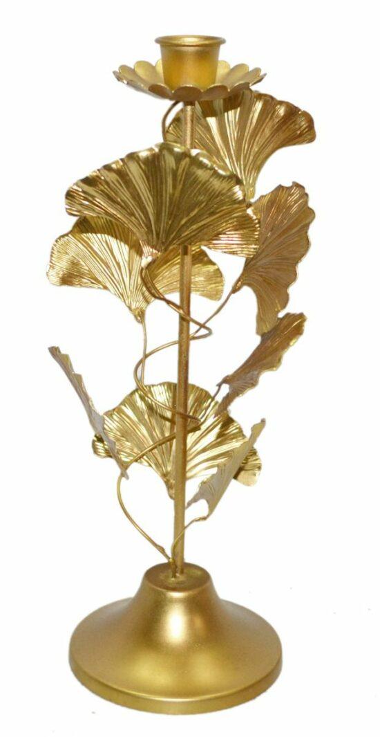 Kandelaar Gingko blad goudkleurig