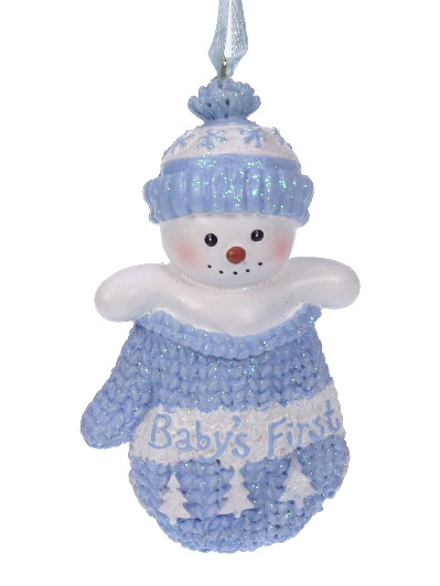 Kerst ornament Baby's first Christmas blauw