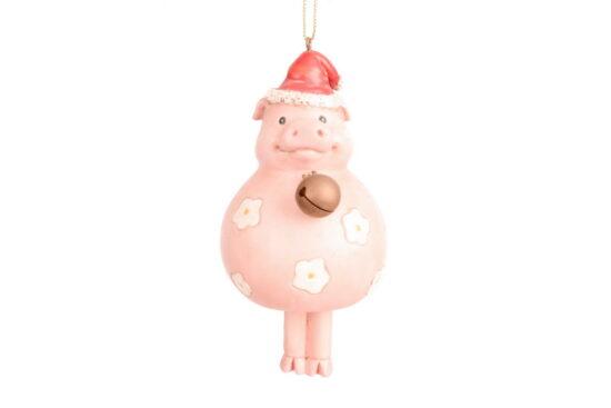 Kerst ornament varkentje met bel