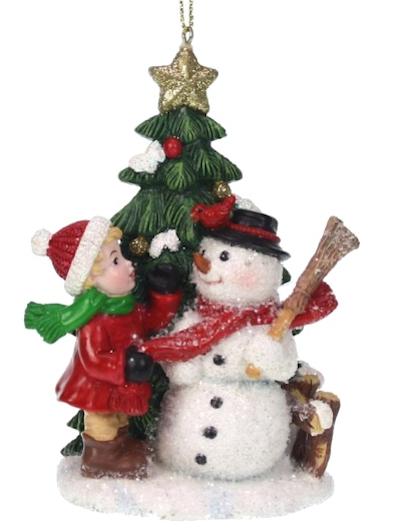 Kerst ornament meisje met sneeuwpop