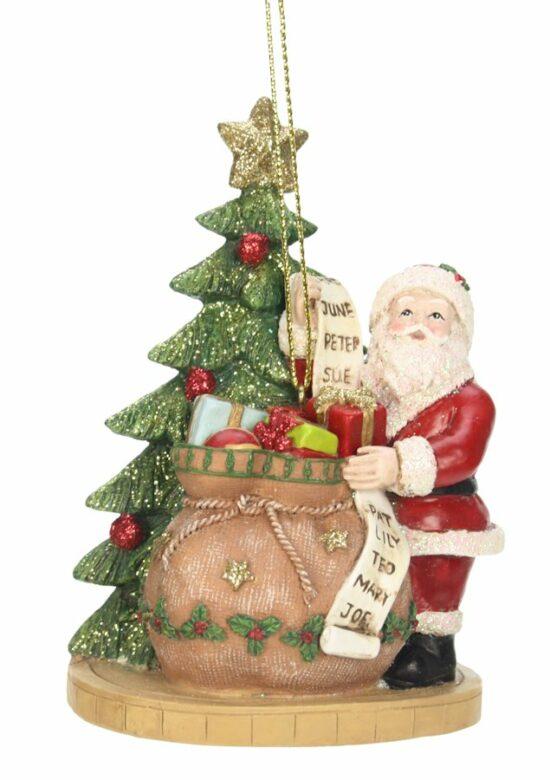 Kerst ornament kerstman met cadeaus