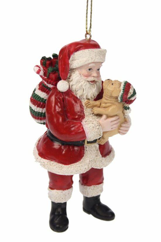 Kerst ornament kerstman met hond