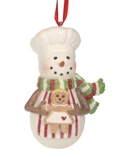 Kerst ornament sneeuwpop met sjaal