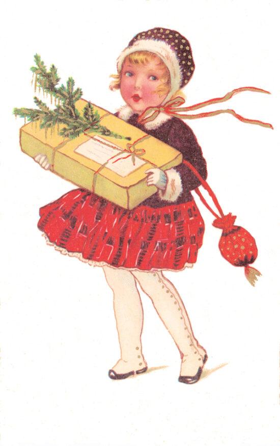 Ansichtkaart Kerst Meisje