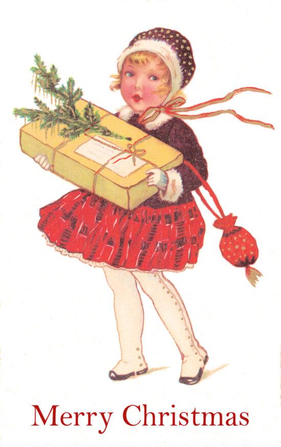 Ansichtkaart Kerst Meisje Merry Christmas