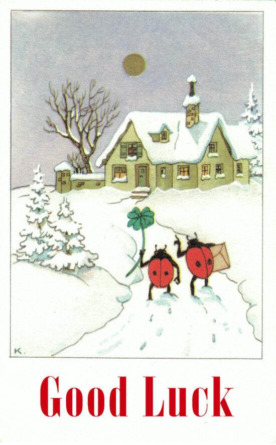 Ansichtkaart Kerst Lieveheersbeestjes Good Luck