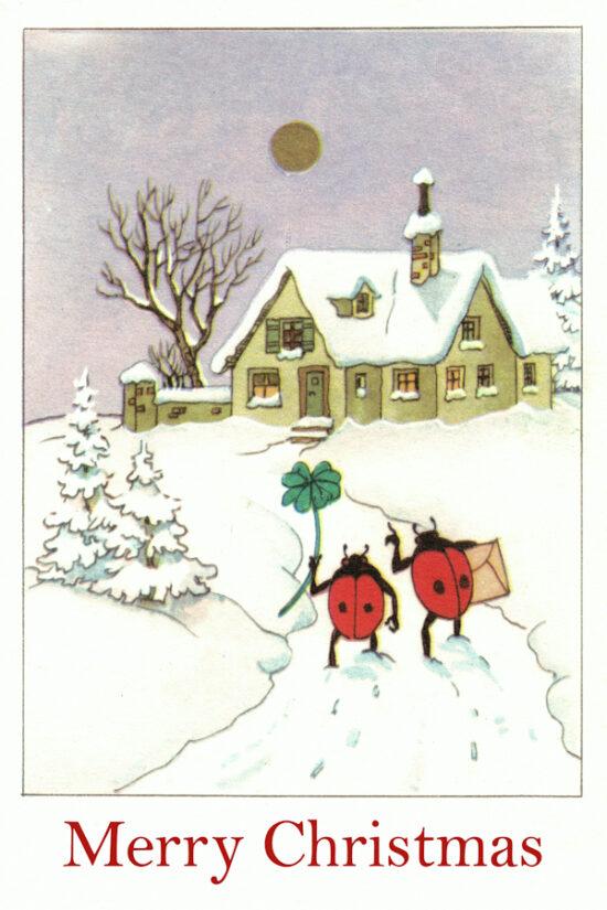 Ansichtkaart Kerst Lieveheersbeestjes Merry Christmas