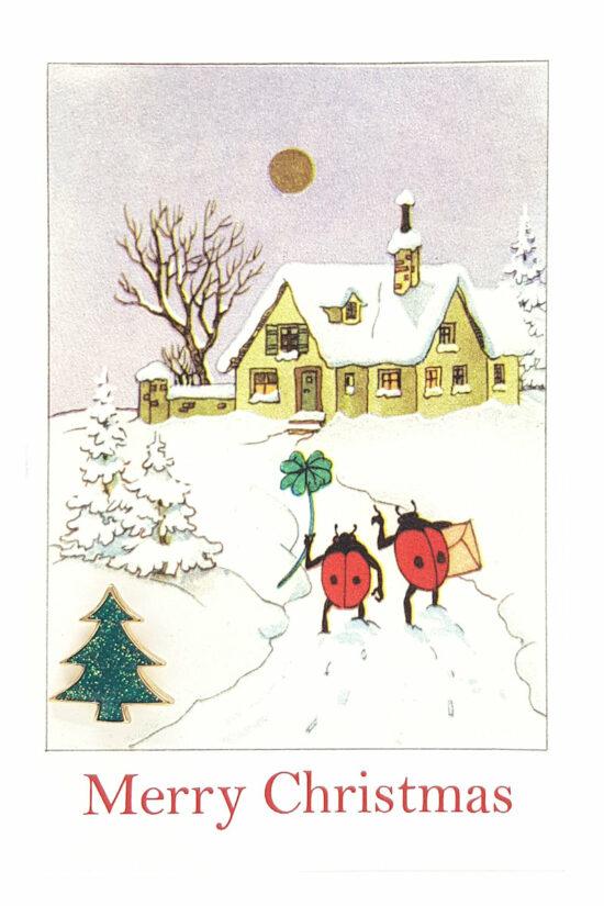 Ansichtkaart Merry Christmas met kerstboom pin