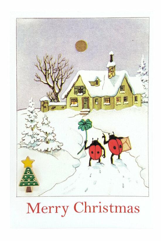 Ansichtkaart Merry Christmas met kerstboom met ster pin