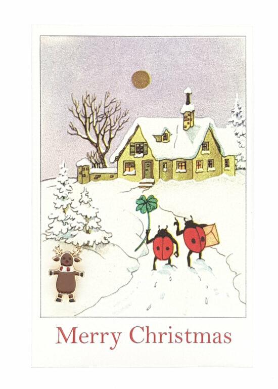 Ansichtkaart Merry Christmas met rendier pin