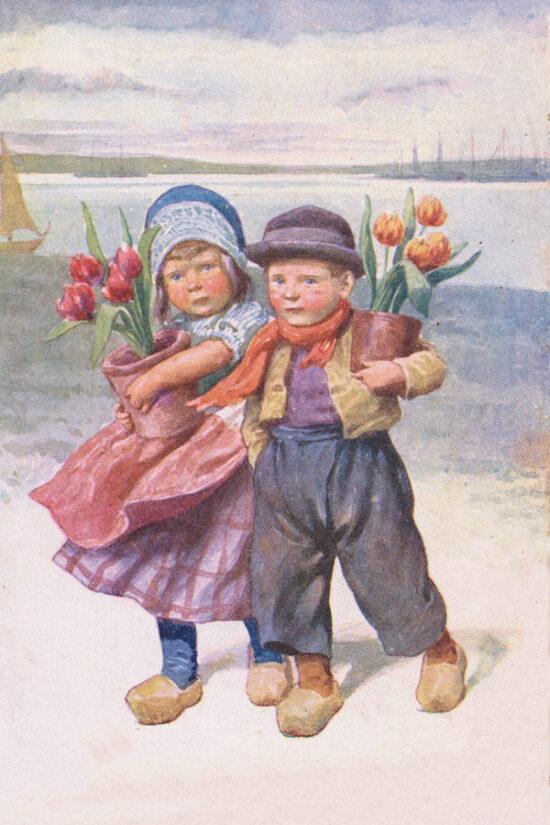 Ansichtkaarten Hollandse kinderen met tulpen