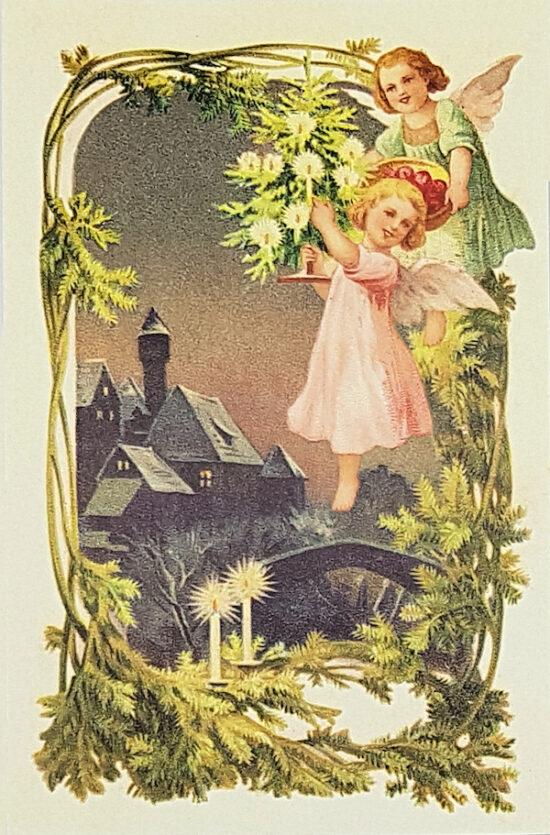 Ansichtkaart Kerst Engeltjes met kerstboom