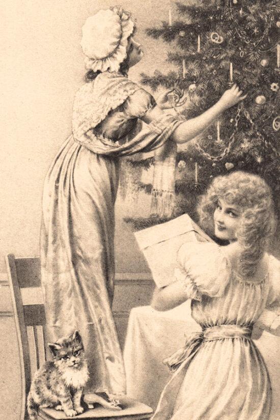 Ansichtkaart Kerst Meisjes bij kerstboom