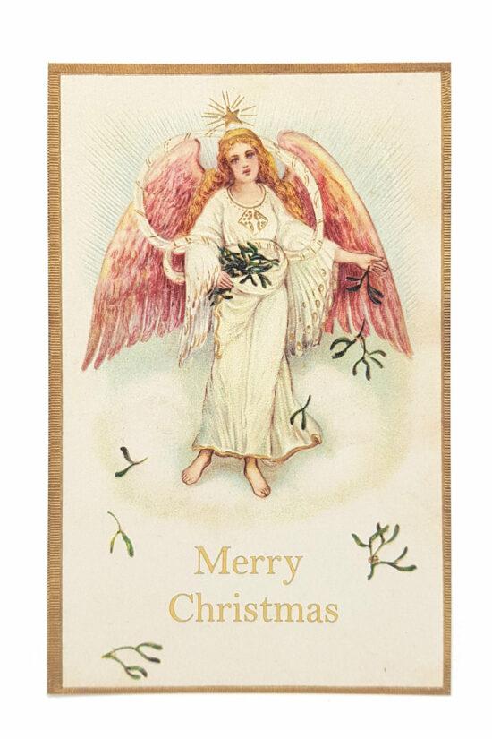Ansichtkaarten Kerst Engel met Mistletoe