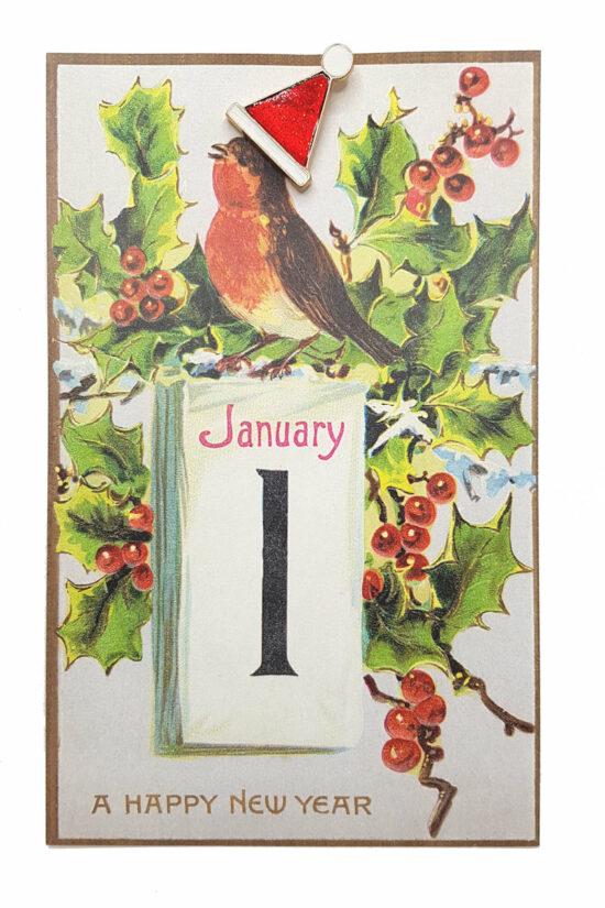 Ansichtkaart Happy New Year met kerstmuts pin